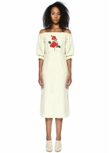 Rixo Gül Nakışlı Kayık Yaka Elbise Beyaz